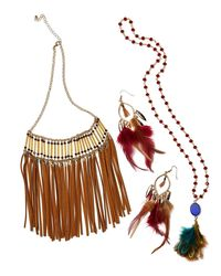 Panacea - Brown Suede Fringe Statement Necklace - Lyst