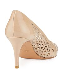 Stuart Weitzman - Natural Cutin Patent Leather Pointed-toe Pump W/ Cutouts - Lyst