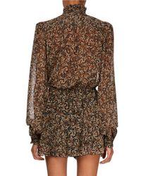 Redemption Brown Victorian-flowers Print Long-sleeve Mini Dress W/ Ruffled Frills