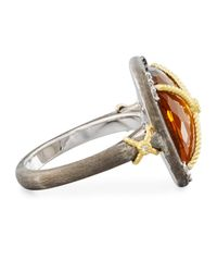 Jude Frances - Metallic Wrapped Citrine & Topaz Cushion Cocktail Ring - Lyst