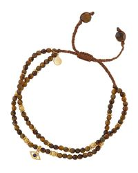 Tai - Brown Tiger's Eye Beaded Bracelet W/ Evil Eye Charm - Lyst