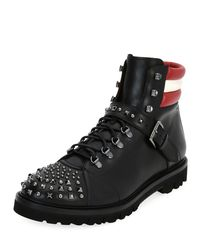 Bally Black Champions Studded Leather Hiking Boot for men