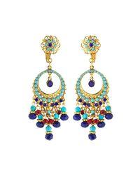 Jose & Maria Barrera - Multicolor Austrian Crystal Filigreed Hoop Drop Earrings - Lyst