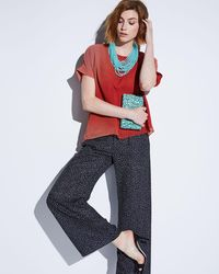 Joan Vass Red Ombre Oversized Double-layer Top