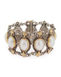 Konstantino | White Silver & 18k Australian Mabe Pearl Link Bracelet | Lyst