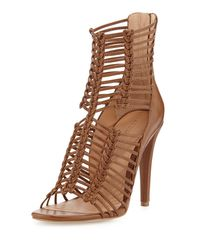 Belle By Sigerson Morrison | Brown Mella Strappy Leather Caged Sandal | Lyst