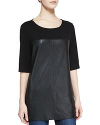 Bagatelle | Black Half-sleeve Knit & Leather Top | Lyst