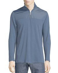 Michael Kors | Blue Stand-collar Jacket W/nylon Yoke for Men | Lyst
