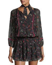 Joie | Black Grover Smocked-waist Silk Dress | Lyst