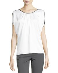 Michael Kors | White Satin Charmeuse Top With Binding | Lyst
