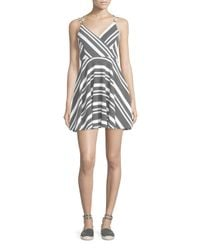 Romeo and Juliet Couture - Black Striped Strappy Sleeveless Dress - Lyst