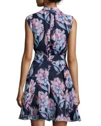 French Connection - Blue Floral Sleeveless V-neck Dress - Lyst