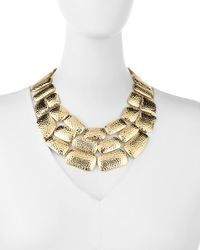 Lydell NYC - Metallic Golden Hammered Statement Bib Necklace - Lyst