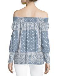 Nanette Lepore - Blue Bandana-print Off-the-shoulder Blouse - Lyst