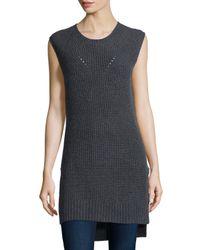 Neiman Marcus - White Shaker-stitch Long Cashmere Vest - Lyst