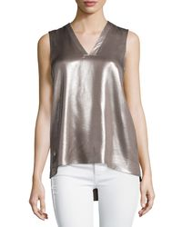Brunello Cucinelli | Metallic Laminated Silk Sleeveless Layered Top | Lyst