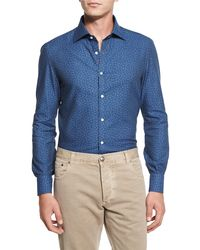 Isaia | Blue Mini Floral-print Chambray Sport Shirt for Men | Lyst
