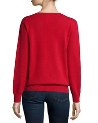 Neiman Marcus | Red Long-sleeve V-neck Relaxed-fit Cashmere Sweater | Lyst