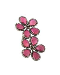 Bavna - Multicolor Composite Ruby & Mixed Diamond Floral Bypass Ring - Lyst