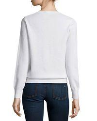 Neiman Marcus - White Long-sleeve Crewneck Cashmere Sweater - Lyst