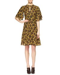 Michael Kors - Multicolor Paisley-print Ruffle-sleeve Dress - Lyst