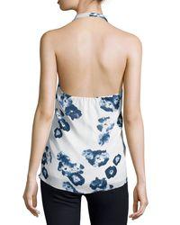 Haute Hippie - White Halter-neck Floral-print Top - Lyst
