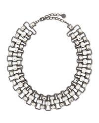 R.j. Graziano Metallic Crystal & Chain Collar Necklace