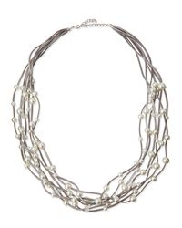 Kenneth Jay Lane - Metallic Long Seven-row Simulated Pearl & Crystal Cord Necklace - Lyst