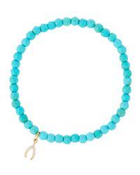 Tai - Blue Beaded Stretch Bracelet W/ Pave Wishbone Charm - Lyst