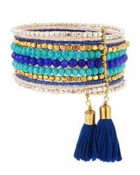 Panacea - Blue Beaded Tasseled Wire Wrap Bracelet - Lyst