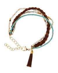 Panacea | Brown Multi-row Beaded & Tasseled Suede Bracelet | Lyst