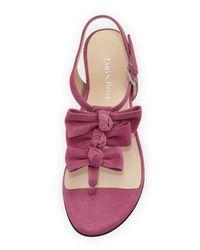 Taryn Rose - Purple Iliana Suede Bow Thong Sandal - Lyst