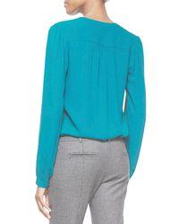 Michael Kors - Blue Split-neck Long-sleeve Blouse - Lyst