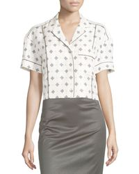 Rag & Bone | White Winifred Printed Short-sleeve Shirt | Lyst