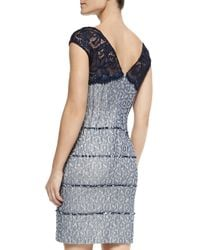 Kay Unger - Multicolor Cap-sleeve Tiered Cocktail Dress - Lyst