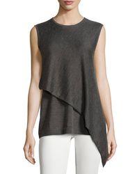 74b2182404b92 Lyst - Derek Lam Sleeveless Cashmere-silk Faux-wrap Tunic in Gray