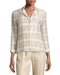 Lafayette 148 New York - Natural Bellene Linen-blend Striped Jacket - Lyst