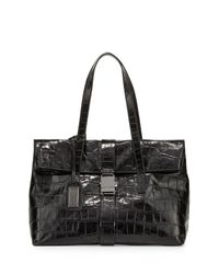 Badgley Mischka - Black Jeyne Crocodile-embossed Leather Tote Bag - Lyst