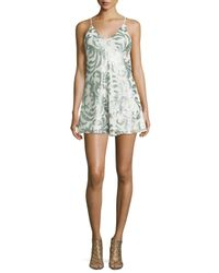 Romeo and Juliet Couture | Natural Sequin-embellished Short Jumpsuit | Lyst