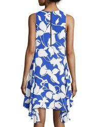 Julia Jordan - Blue Printed Sleeveless Godet Dress - Lyst
