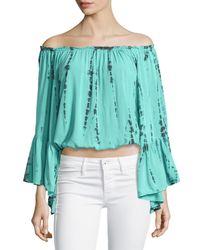 Surf Gypsy - Green Tie-dye Off-the-shoulder Top - Lyst