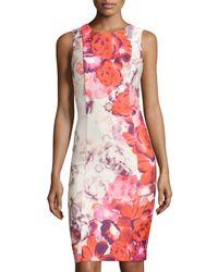 Eliza J   Multicolor Sleeveless Floral-print Sheath Dress   Lyst