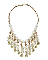 Lydell NYC | Metallic Golden Pearly Beaded Bib Necklace | Lyst