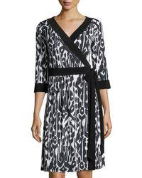 Melissa Masse   Black Ikat-print 3/4-sleeve Wrap Dress   Lyst