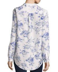 Equipment | Blue Slim Signature Floral Print Brushed Silk Shirt | Lyst