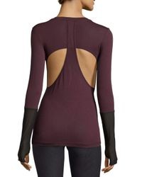 Koral Activewear - Purple Fission Long-sleeve Mesh-inset Top - Lyst