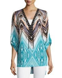 Alberto Makali | Blue Printed Lace-up 3/4-sleeve Top | Lyst