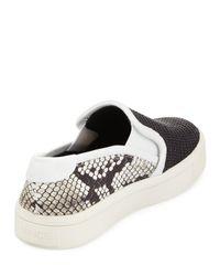 Vince - Black Bram Woven & Lizard-print Sneaker - Lyst