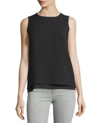 Vince | Black Layered Jacquard Sleeveless Shell | Lyst