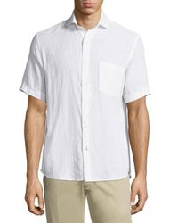 Neiman Marcus - White Linen Chambray Short-sleeve Shirt for Men - Lyst